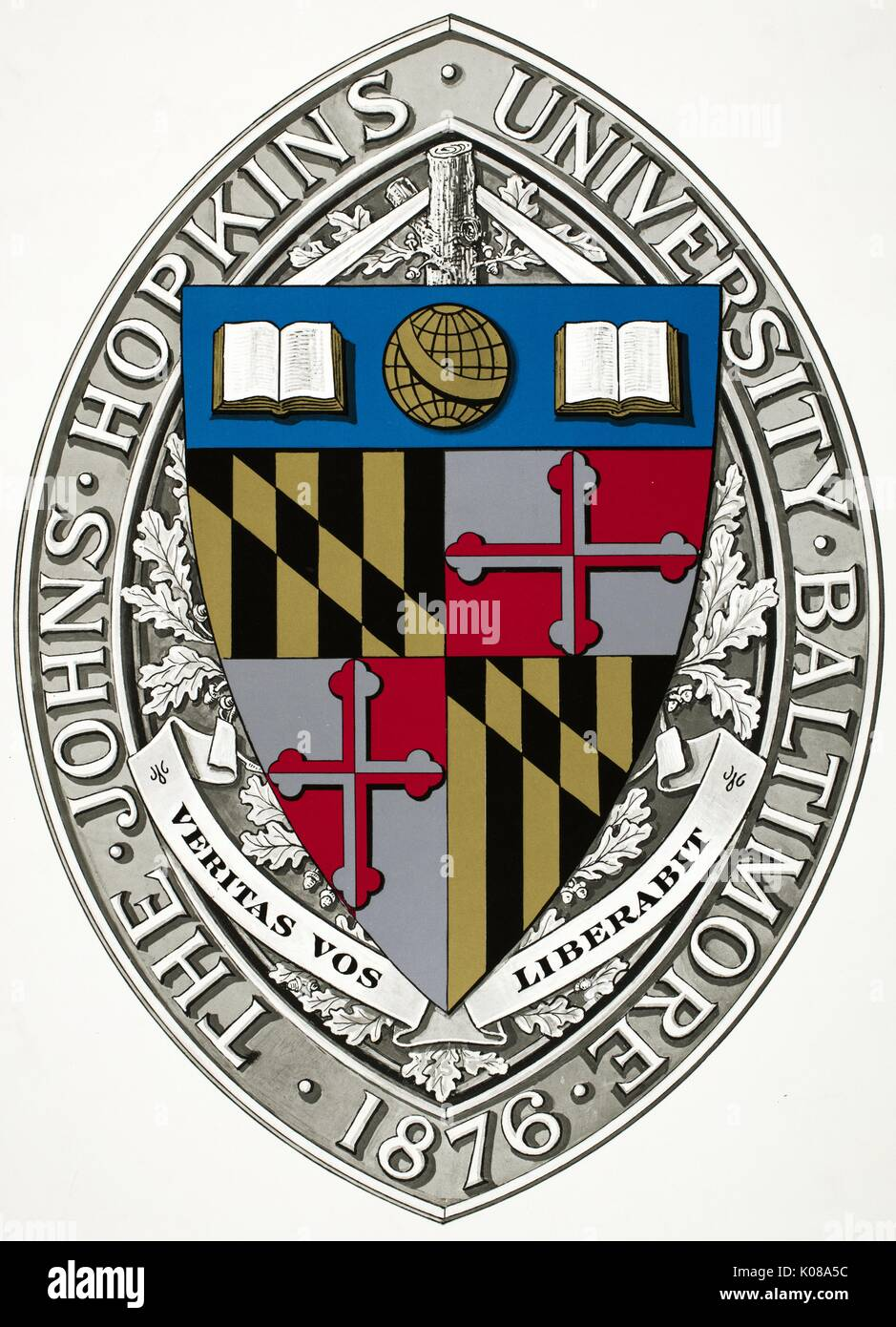 Print of the Johns Hopkins University seal, showing the motto 'Veritas vos liberabit, ' the founding date 1876, and various academic iconography, 1911. - Stock Image