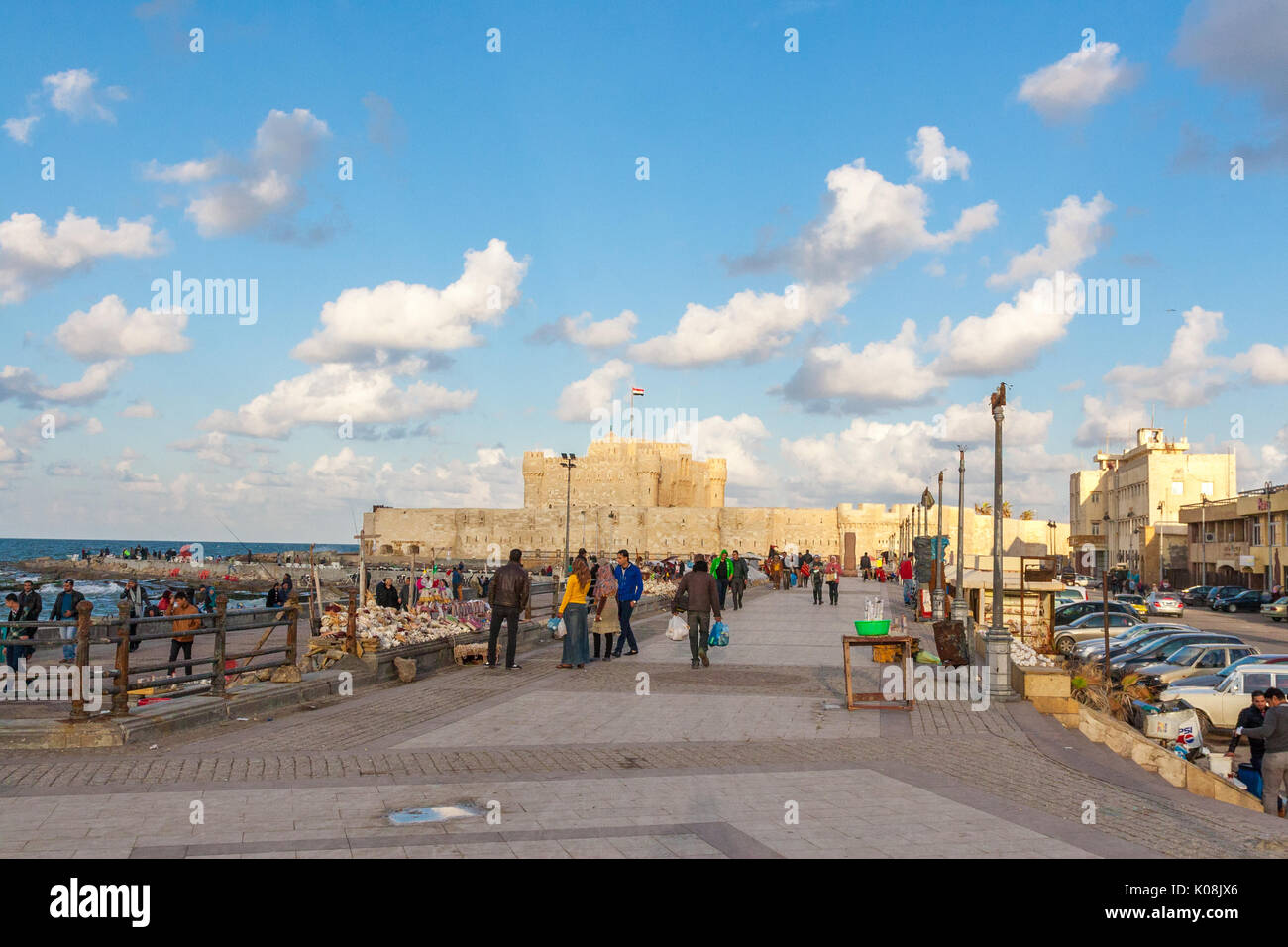 Alexandria Historical View of Qaetbay Castle Under Cloudy Sky - Stock Image