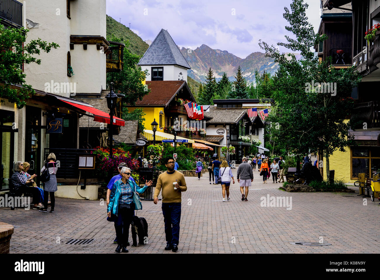 Main Streett in Vail Ski Resort, Vail, CO, United States - Stock Image