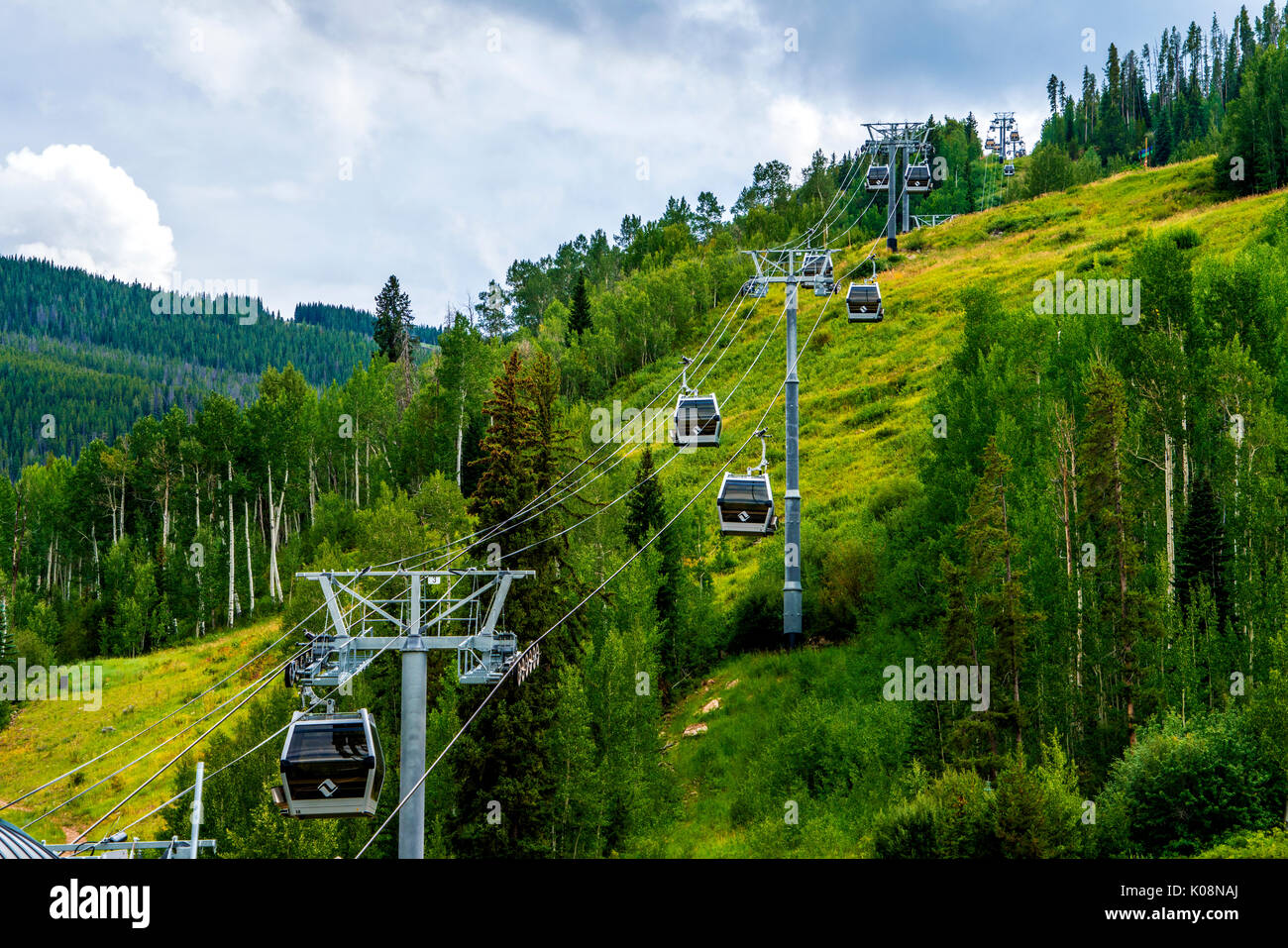 gondola ski lift at the Vail ski resort in Colorado USA - Stock Image
