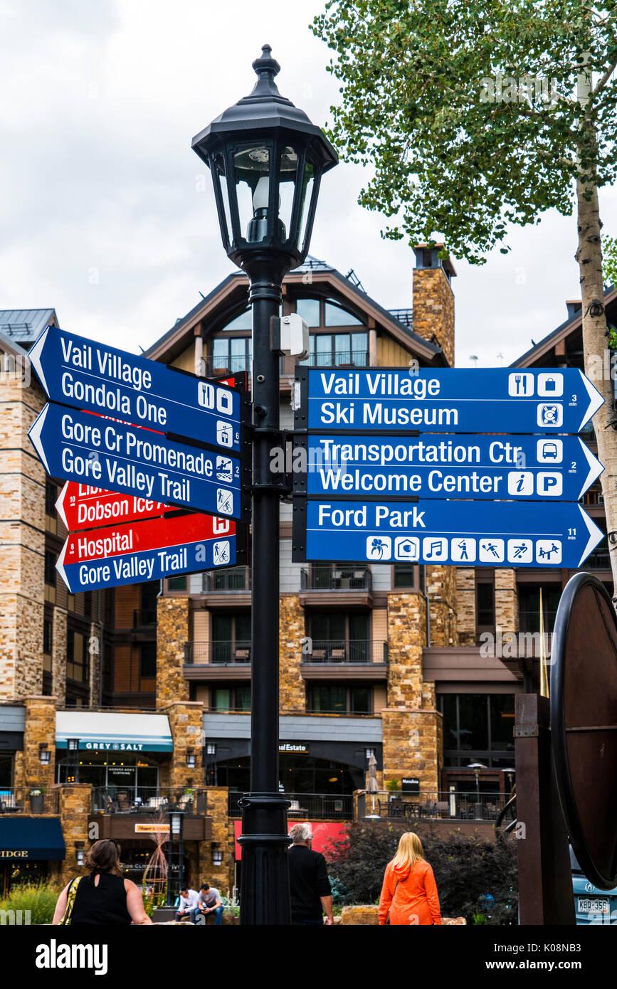 street signs in Vail ski resort in Colorado - Stock Image