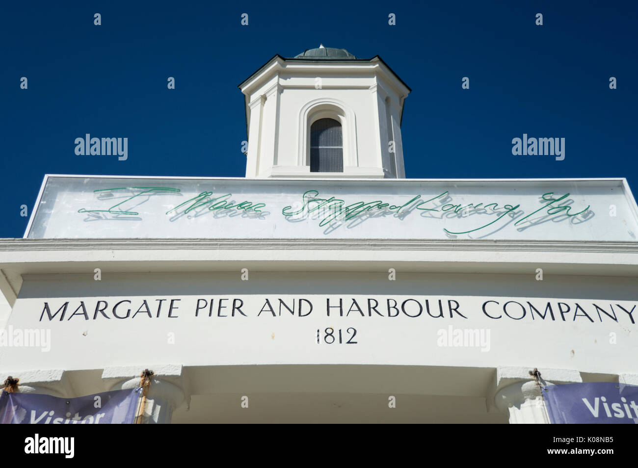 close up of Margate Pier and Harbour Company, now the Tourist Information office.  Tracy Emin's neonnsign on the Stock Photo