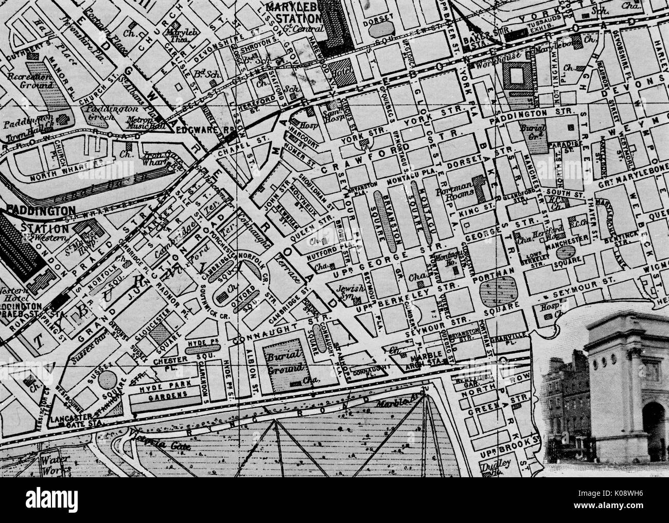 Map Of London 1900.Map Of The St Marylebone Area London Date Circa 1900 Stock Photo