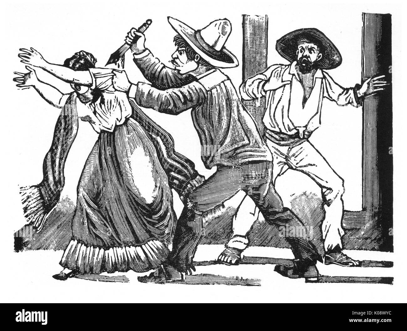 Eufemio Martinez murdering his sister, Mexico.   circa 1900 - Stock Image