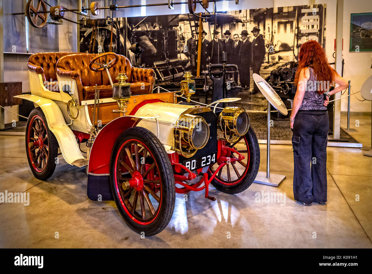 The Fiat Centro Storico is a museum and business archive based in Turin. Exposes cars, planes, trains, tractors, trucks, bicycles, washing machines, refrigerators with Fiat brand - 16/20 Hp - ' Phaeton ' - !923 - Stock Image