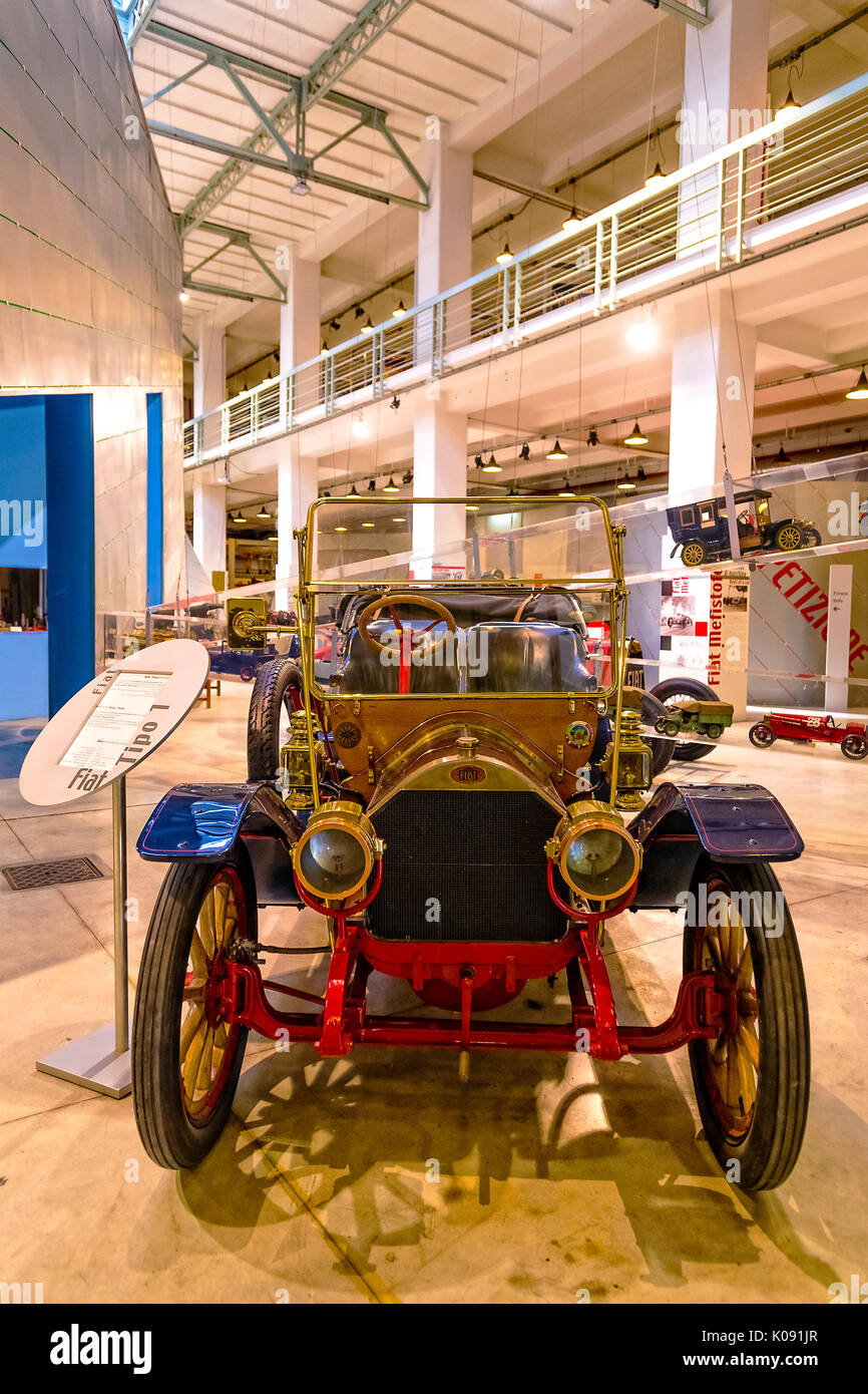 The Fiat Centro Storico is a museum and business archive based in Turin. Exposes cars, planes, trains, tractors, trucks, bicycles, washing machines, refrigerators with Fiat brand Type 1 'Phaeton' 1910 - Stock Image