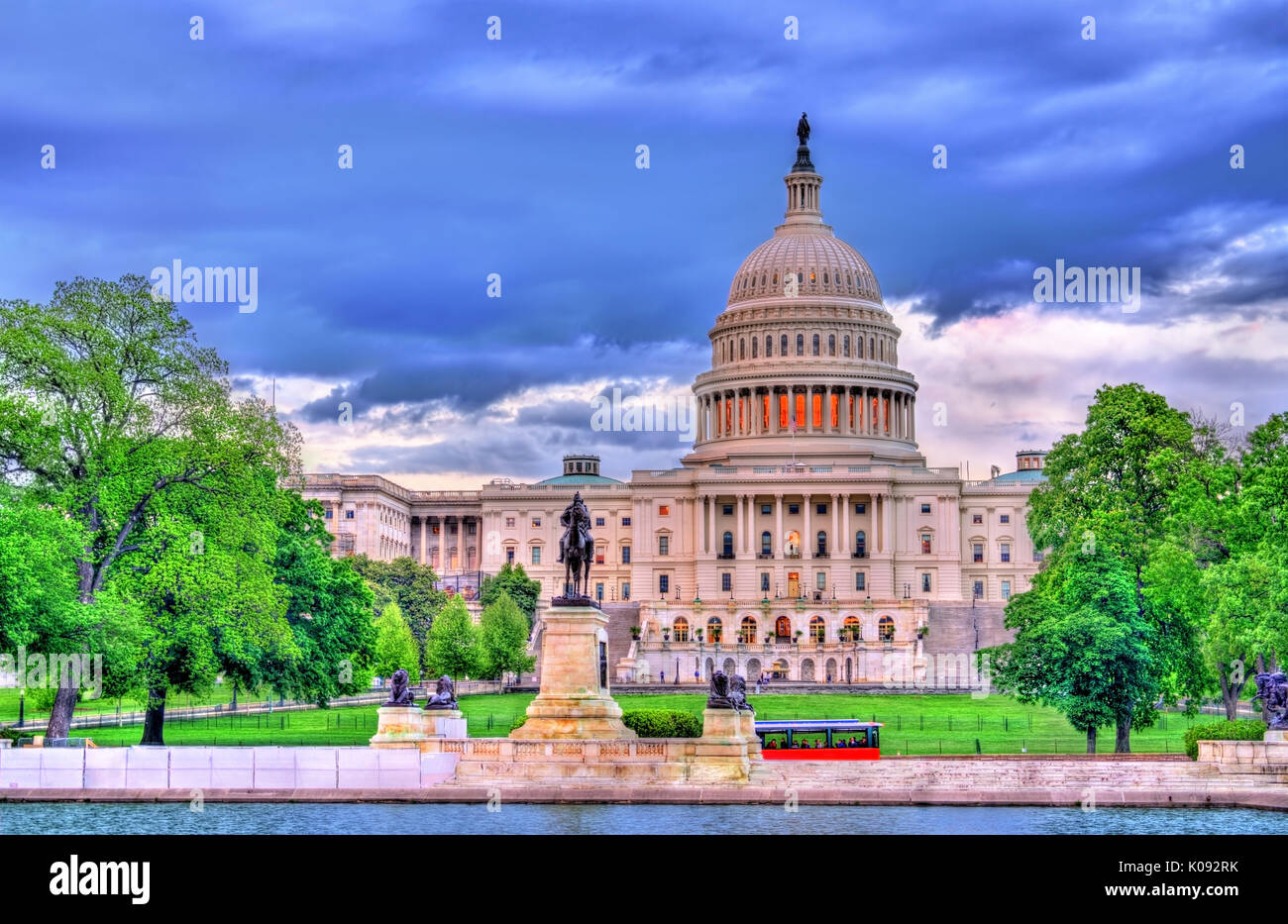 The United States Capitol Building with the Ulysses S. Grant memorial. Washington, DC - Stock Image