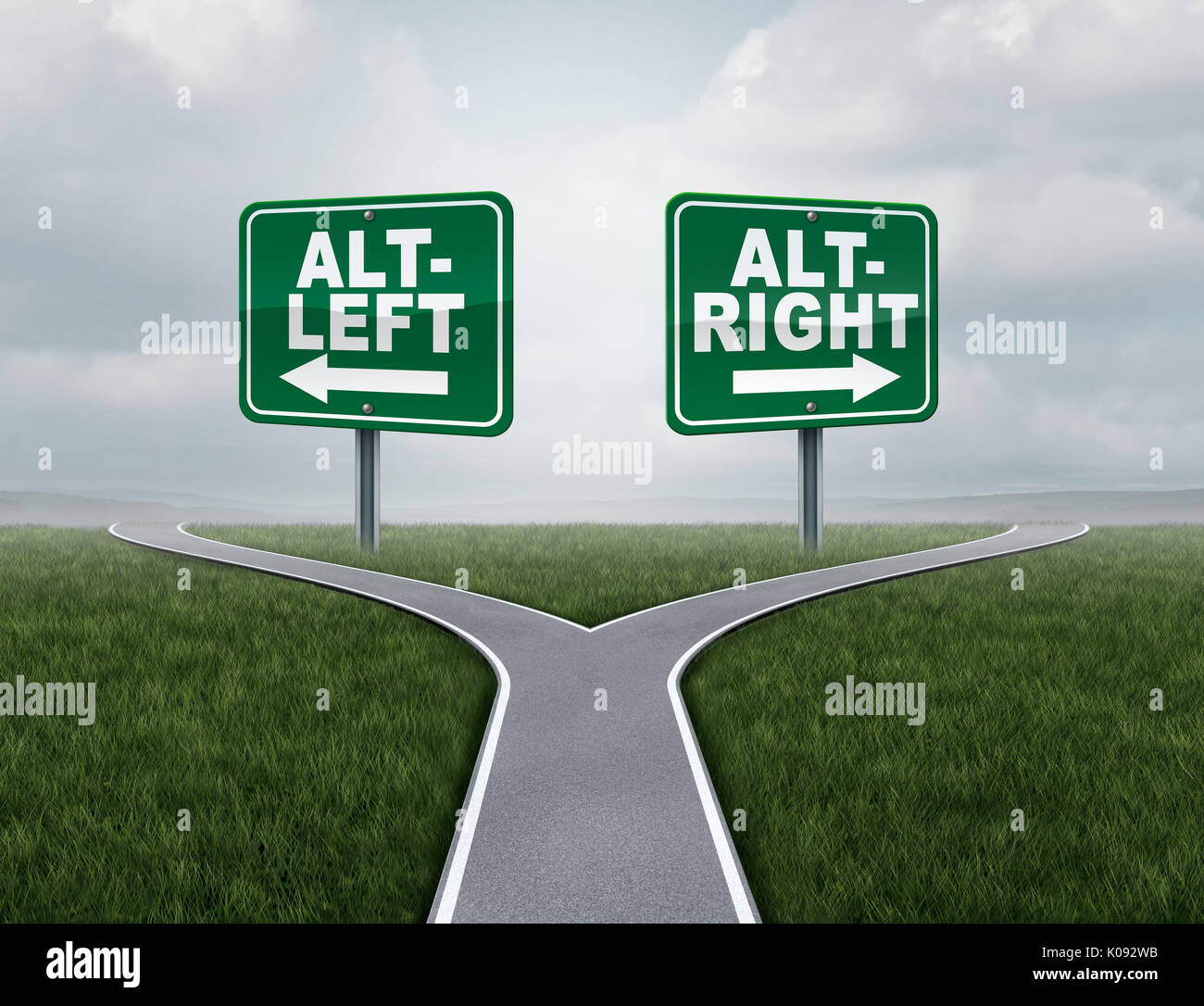 Alt right or altleft concept as a political and social thinking idelogies concept with two sides of opposing ideology debate. - Stock Image