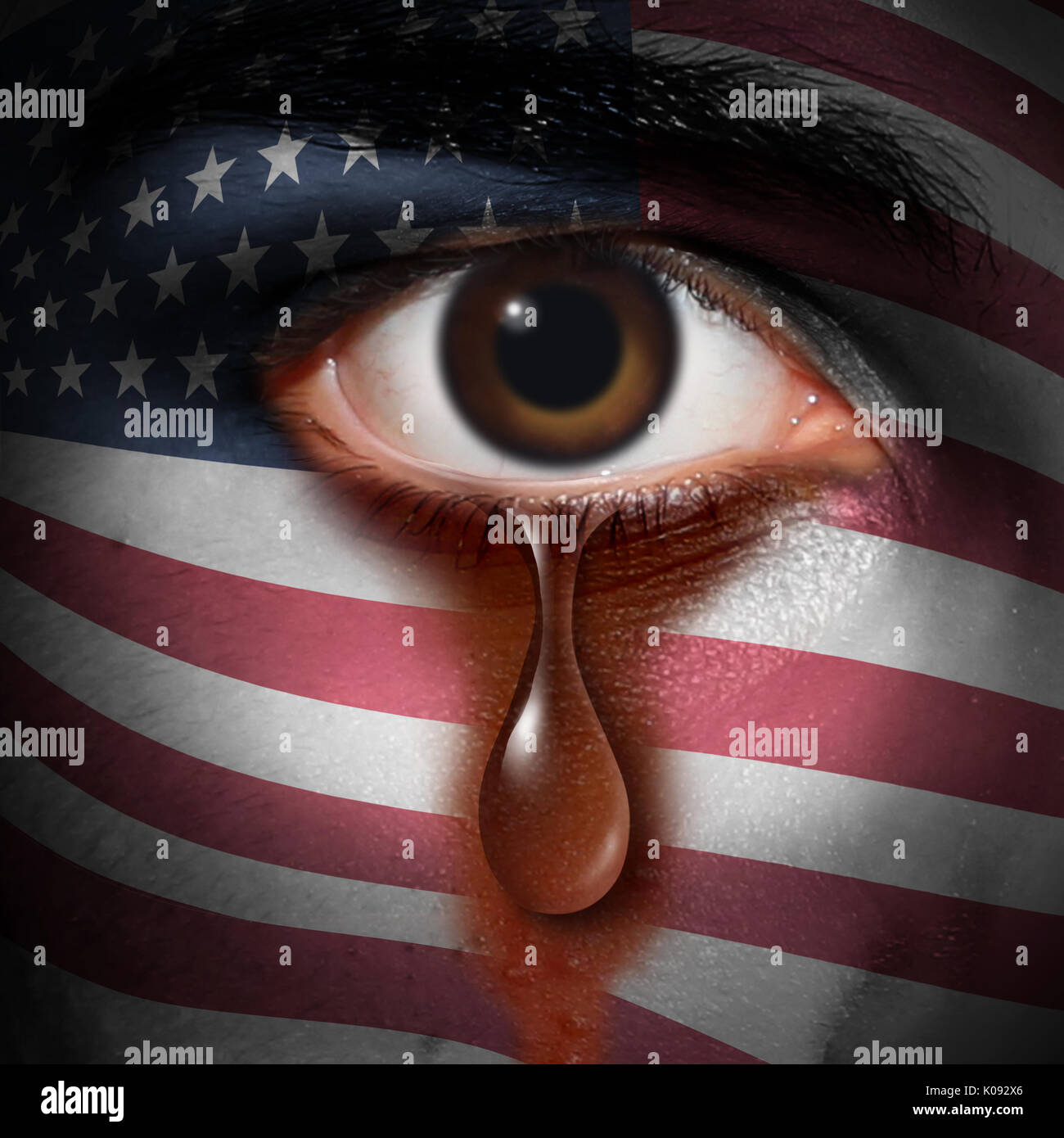Racism in America and bigotry in the USA concept as the tear of an American minority washing away a flag of the United States painted on a face. - Stock Image