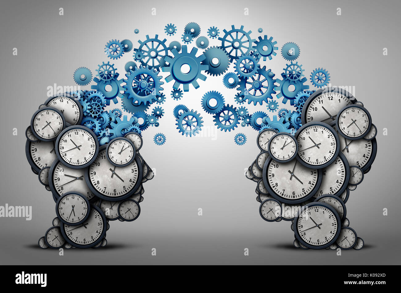 Business time planning partnership as two people heads made of clock cog and gear objects linked together as an organizing a meeting and schedule symb - Stock Image