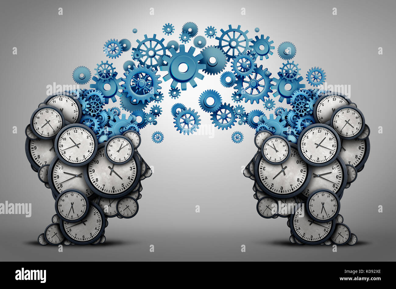 Business time planning partnership as two people heads made of clock cog and gear objects linked together as an organizing a meeting. - Stock Image