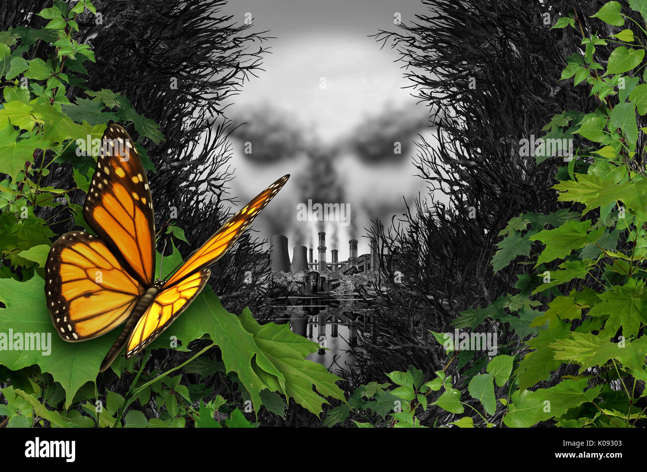 Environmental destruction and ecological natural habitat contamination as a butterfly looking at a polluted industrial area with coal chimneys. - Stock Image