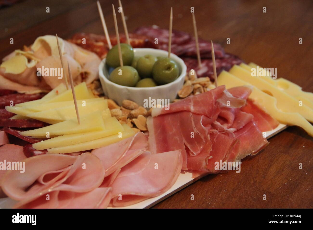 Chopped table of cold cuts with beer Stock Photo