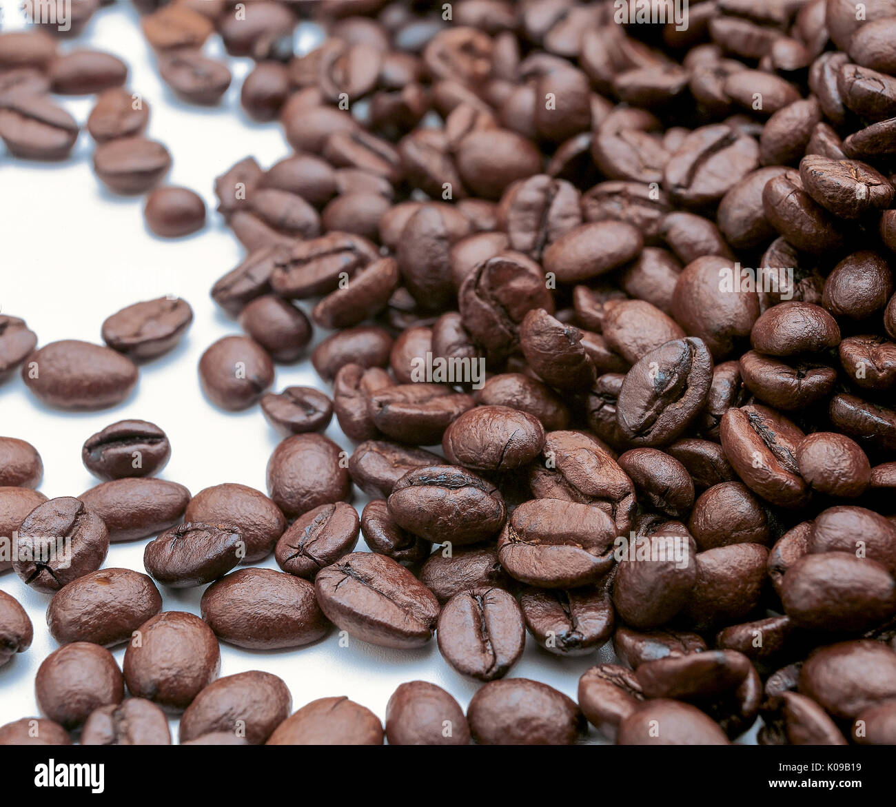 Coffee beans after being roasted - Stock Image