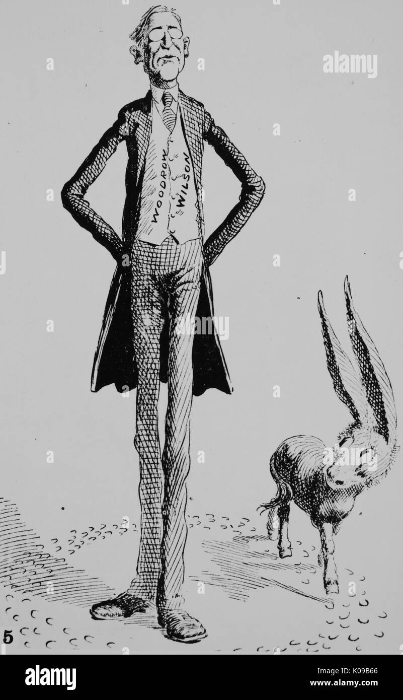 Looking him over, a cartoon from the St Louis Post-Dispatch, showing Wilson being surveyed by the Democratic donkey | Cartoon appeared a few weeks after Wilsons election to the Governorship of New Jersey, which brought him into national prominence, December 29, 1910. - Stock Image