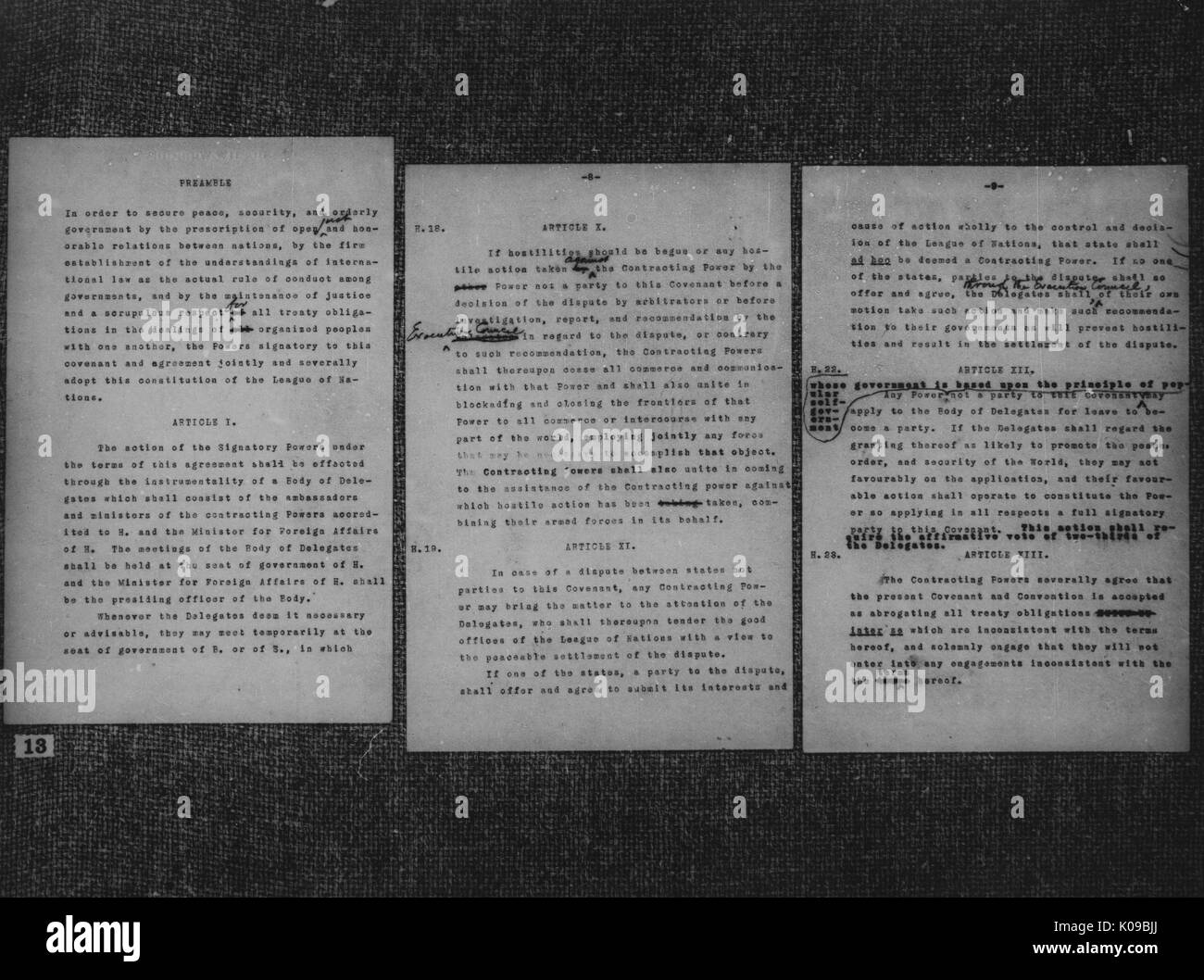 Three pages of an edited copy of articles from Woodrow Wilson, the president of the United States from March 4, 1913 - March 4, 1921, 1917. - Stock Image