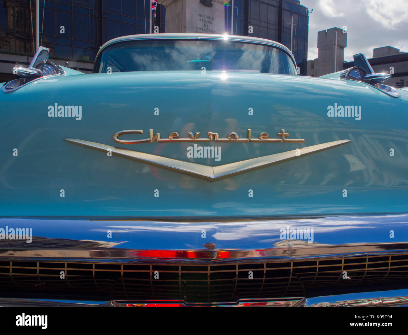 The front bonnet and lgo on a 1957 Chevrolet Bel Air four door sedan - Stock Image