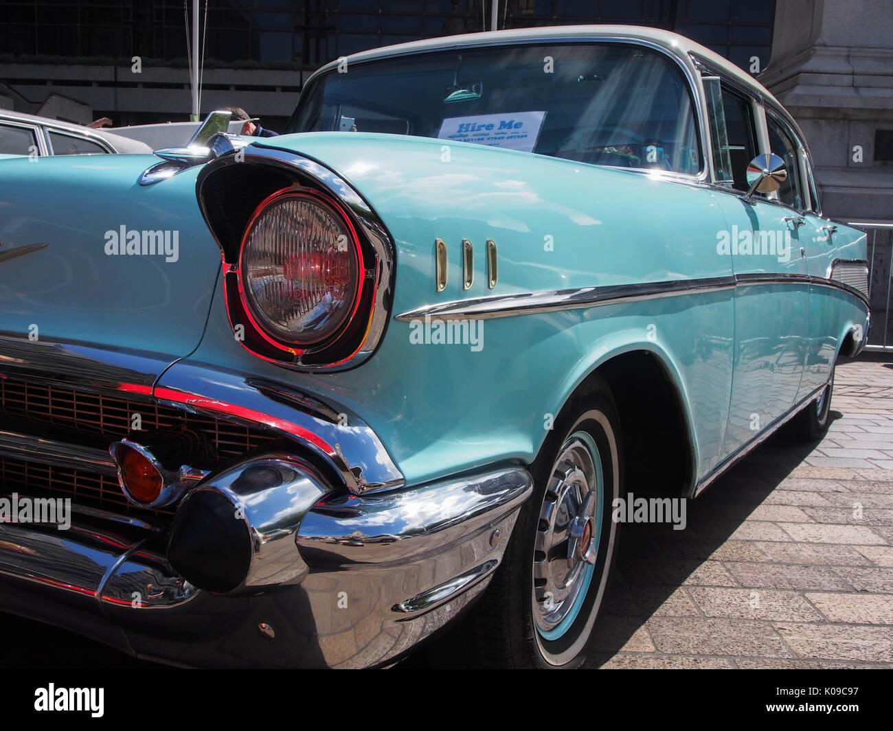 A 1957 Chevrolet Bel Air four door sedan - Stock Image
