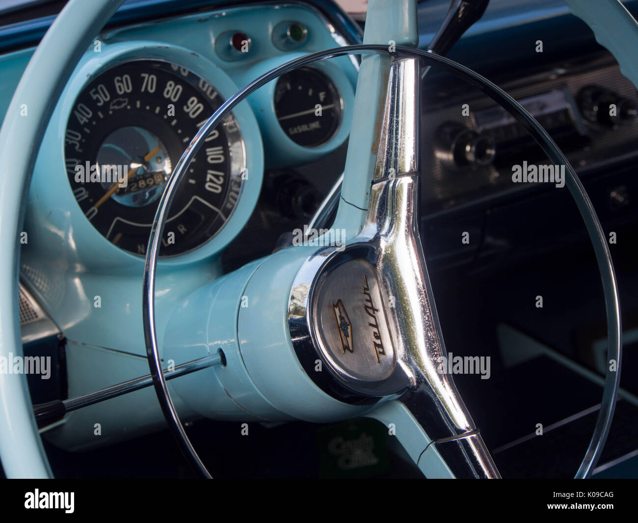 The Front Interior Of A 1957 Chevrolet Bel Air Four Door