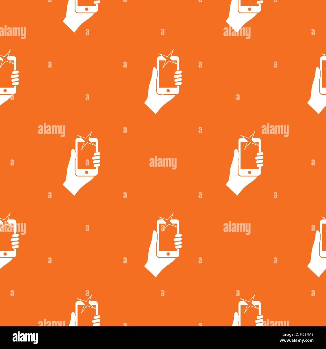 Hand photographed on mobile phone pattern seamless - Stock Vector