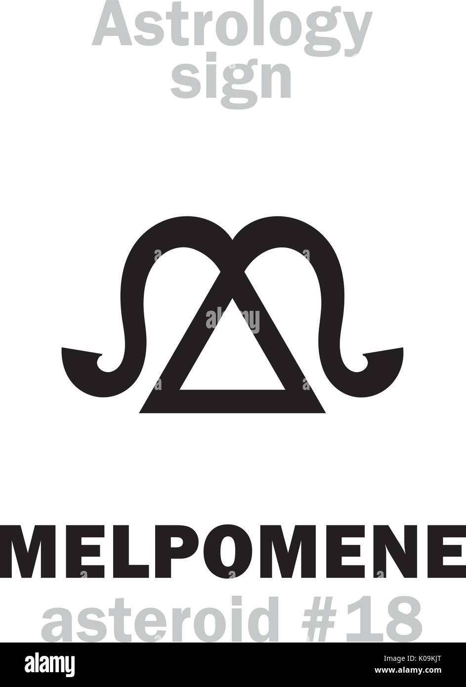 Astrology Alphabet: MELPOMENE (muse of tragedy), asteroid #18. Hieroglyphics character sign (single symbol). - Stock Vector