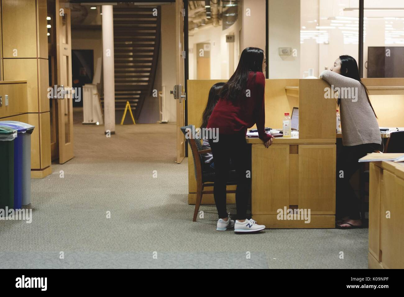 Students lean over a cubicle and chat to take a break from their studies in the Milton S. Eisenhower Library on the Homewood campus of the Johns Hopkins University in Baltimore, Maryland, 2015. Courtesy Eric Chen. - Stock Image