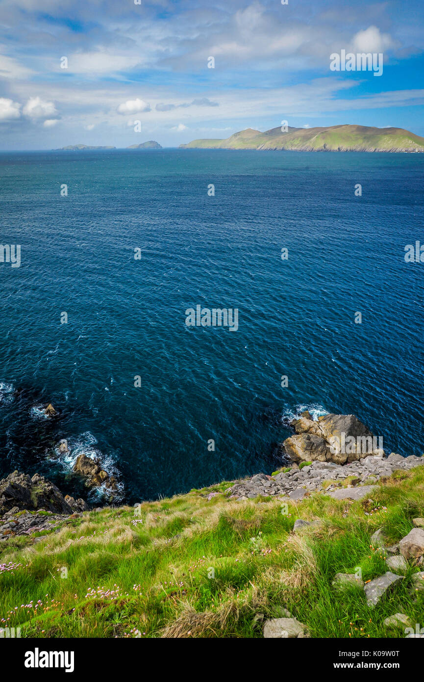 Cliff top view over the ocean from coast of Western Ireland - Stock Image
