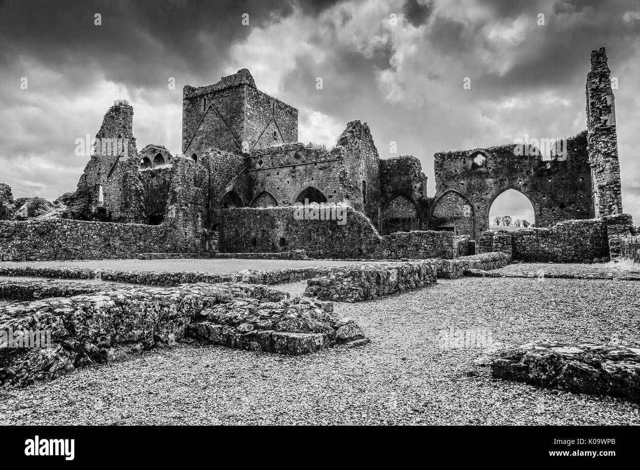 High contrast black and white image of the ruins of Hore Abbey, Cashel, county Tipperary, Ireland - Stock Image