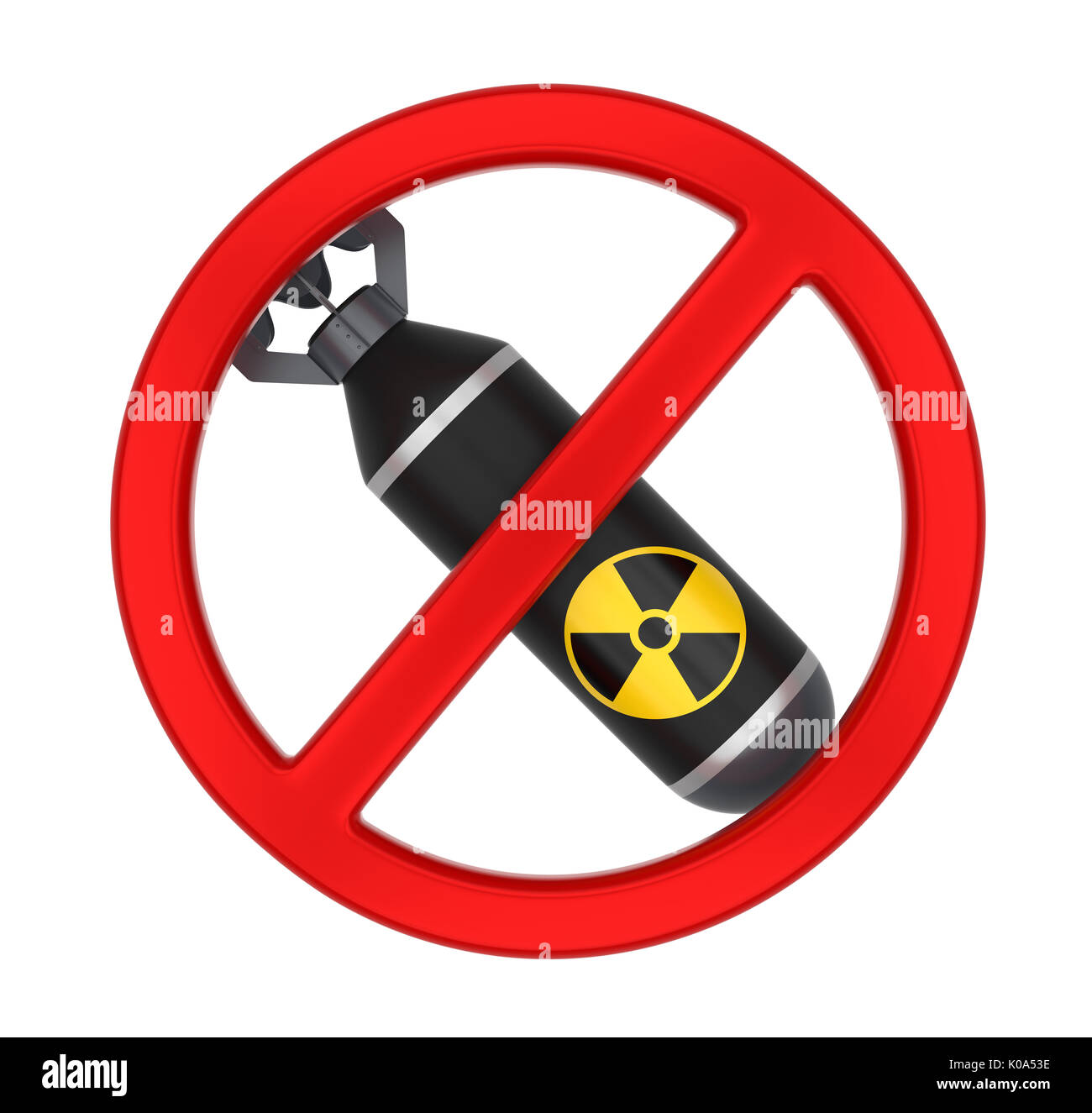 No Nuclear Bomb Sign Isolated - Stock Image