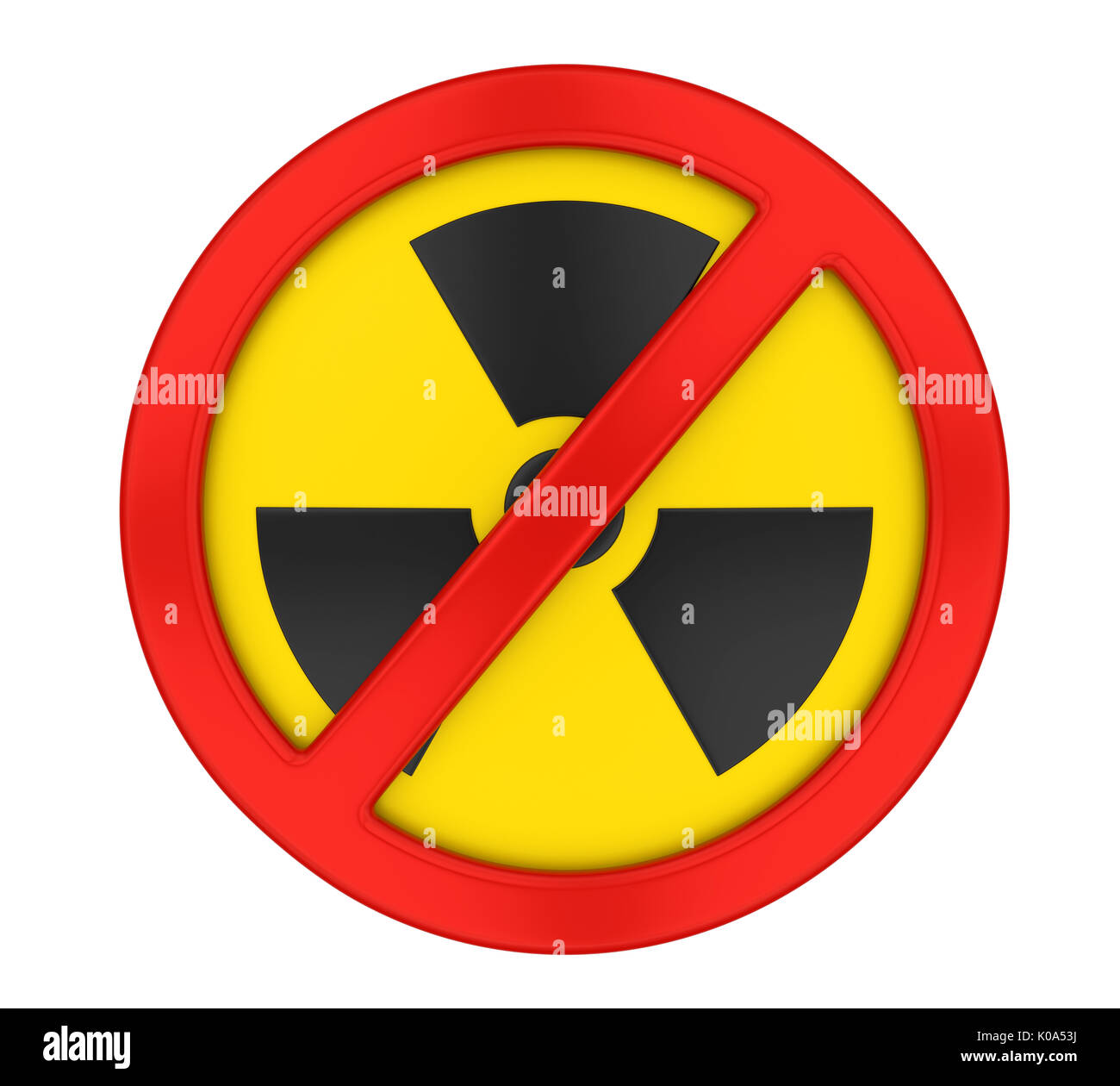 Radiation Forbidden Sign Isolated - Stock Image