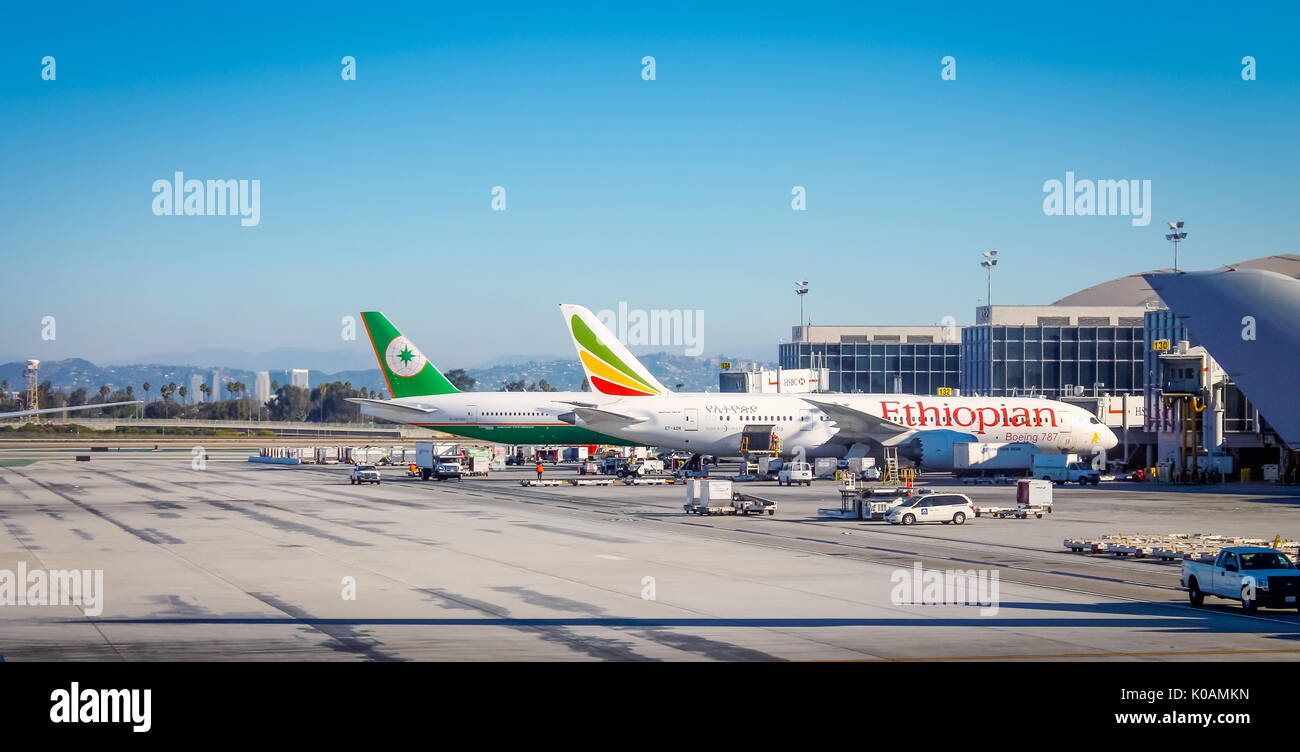 Los Angeles, USA - 25  September 2016: Aircraft sitting on the runway at Los Angeles International (LAX) Airport - Stock Image