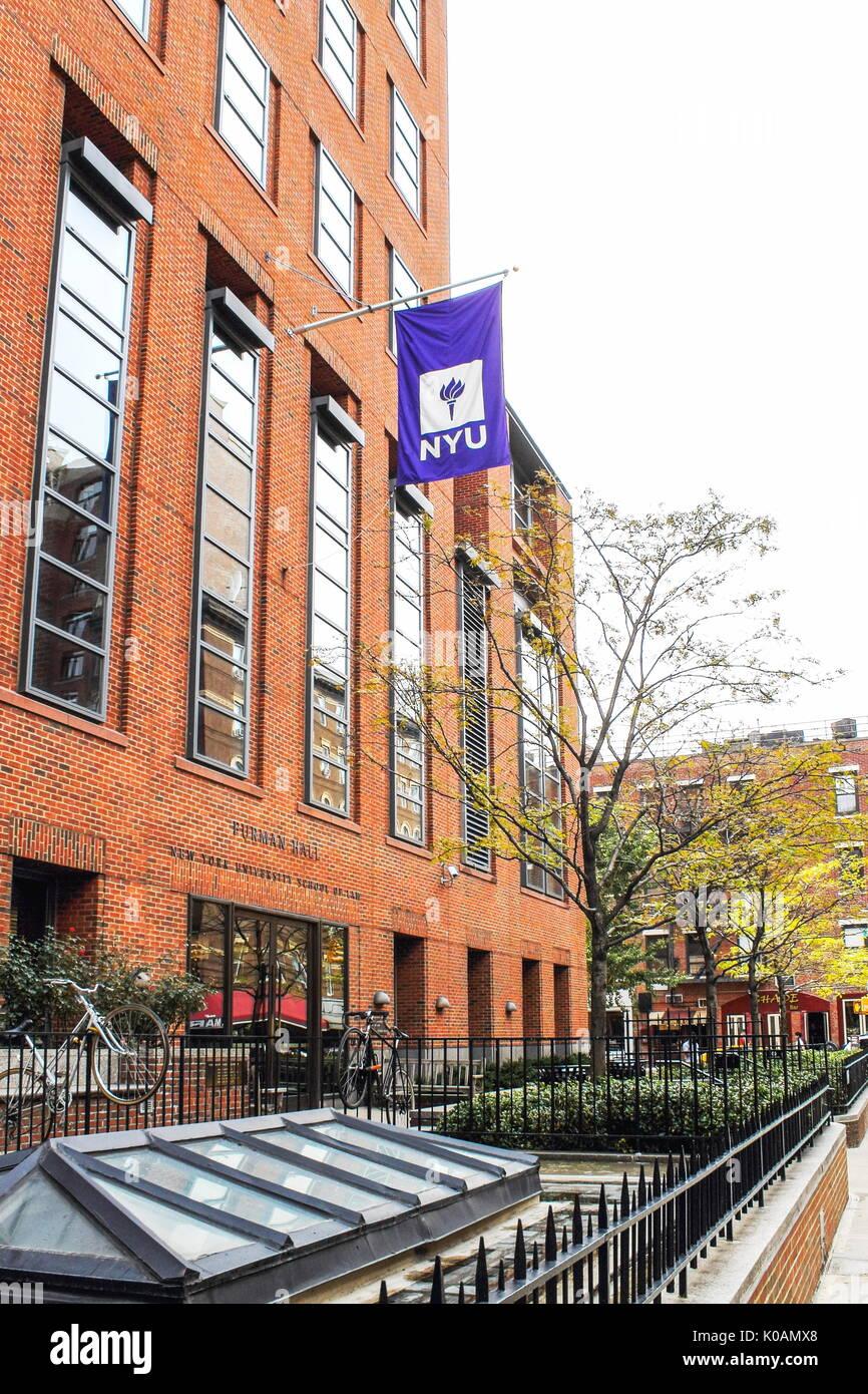 New York, USA - September 27, 2016: NYU - New York University School of Law building located at 245 Sullivan Street, between Washington Square South a - Stock Image