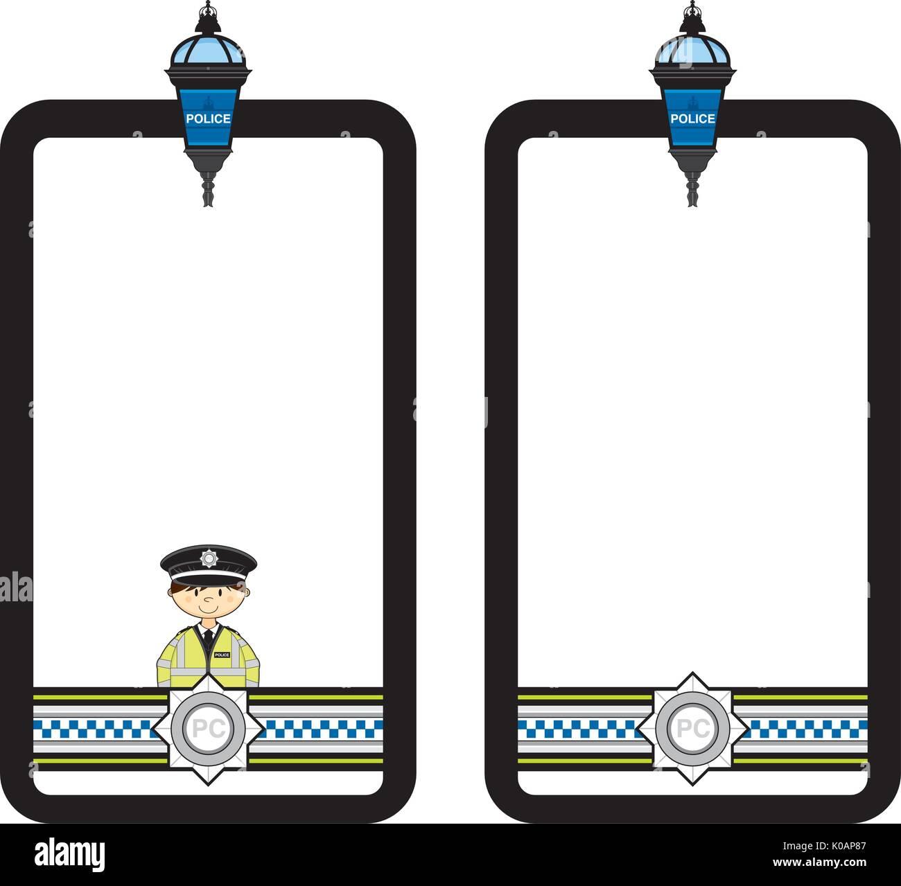 Cute Cartoon British Policeman Vector Illustration - Stock Image