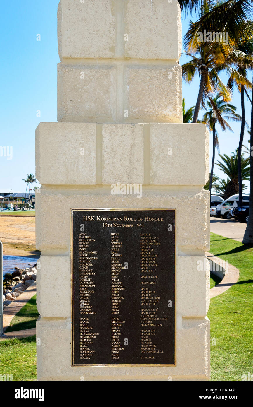 Memorial, roll of honour for the sailors of the HSK Kormoran, Carnarvon, Gascoyne, Western Australia - Stock Image