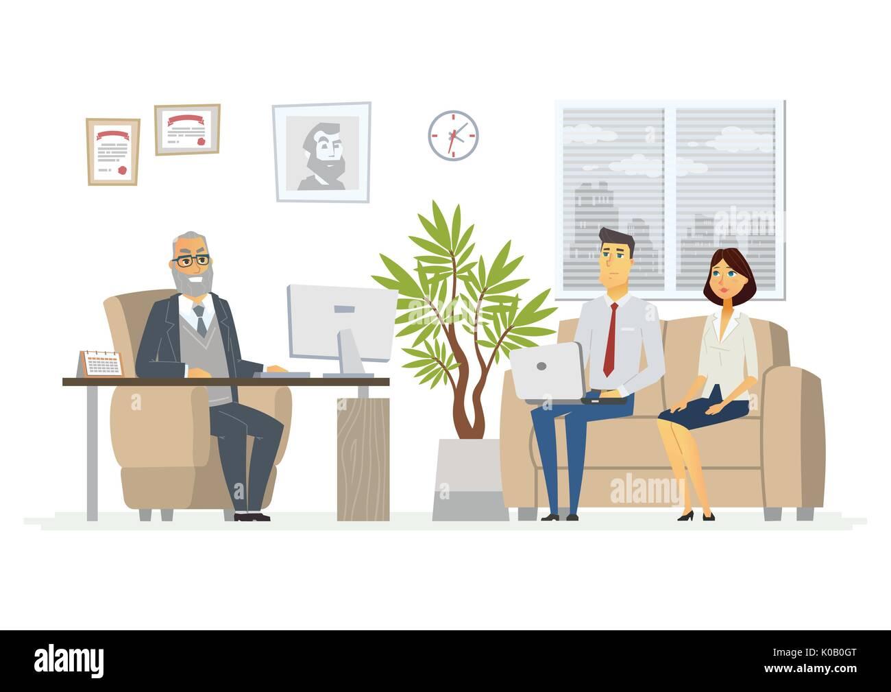 Office Head Consultation - modern vector cartoon business character illustration - Stock Vector