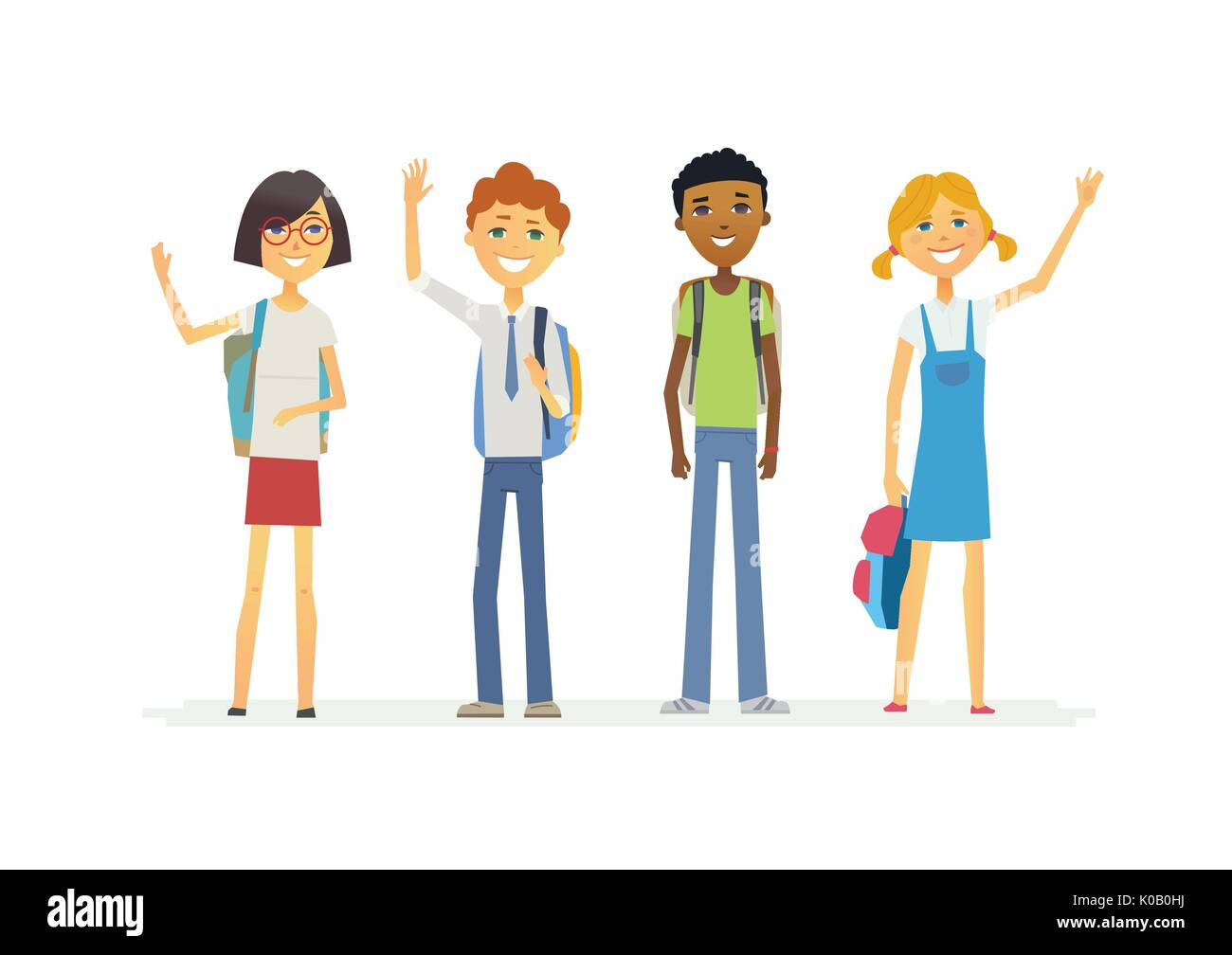 Happy standing schoolchildren with backpacks - cartoon people characters isolated illustration - Stock Vector