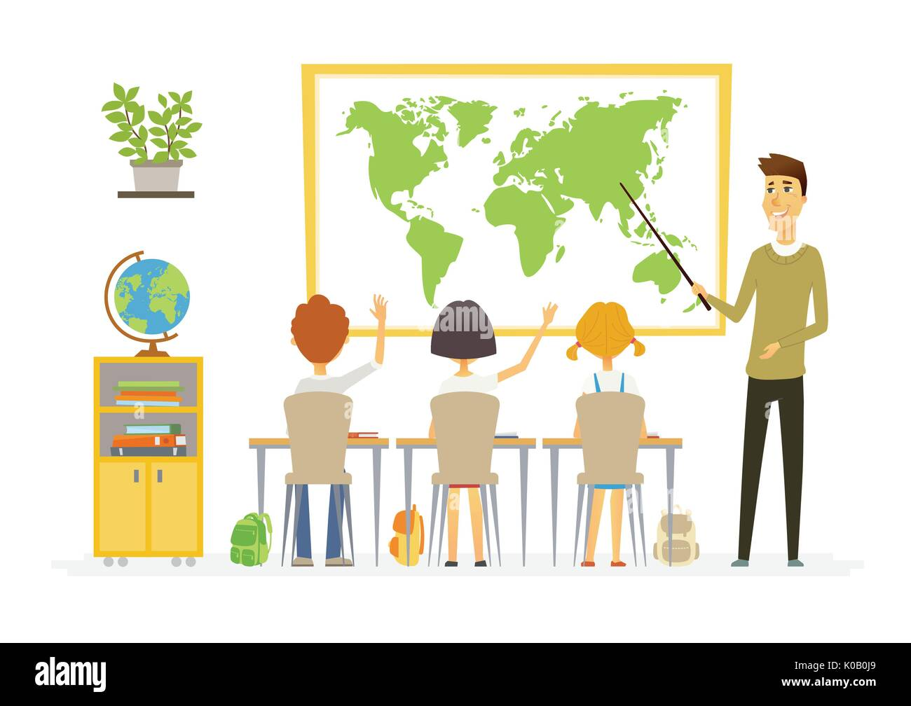 Geography lesson at school - modern cartoon people characters illustration - Stock Image