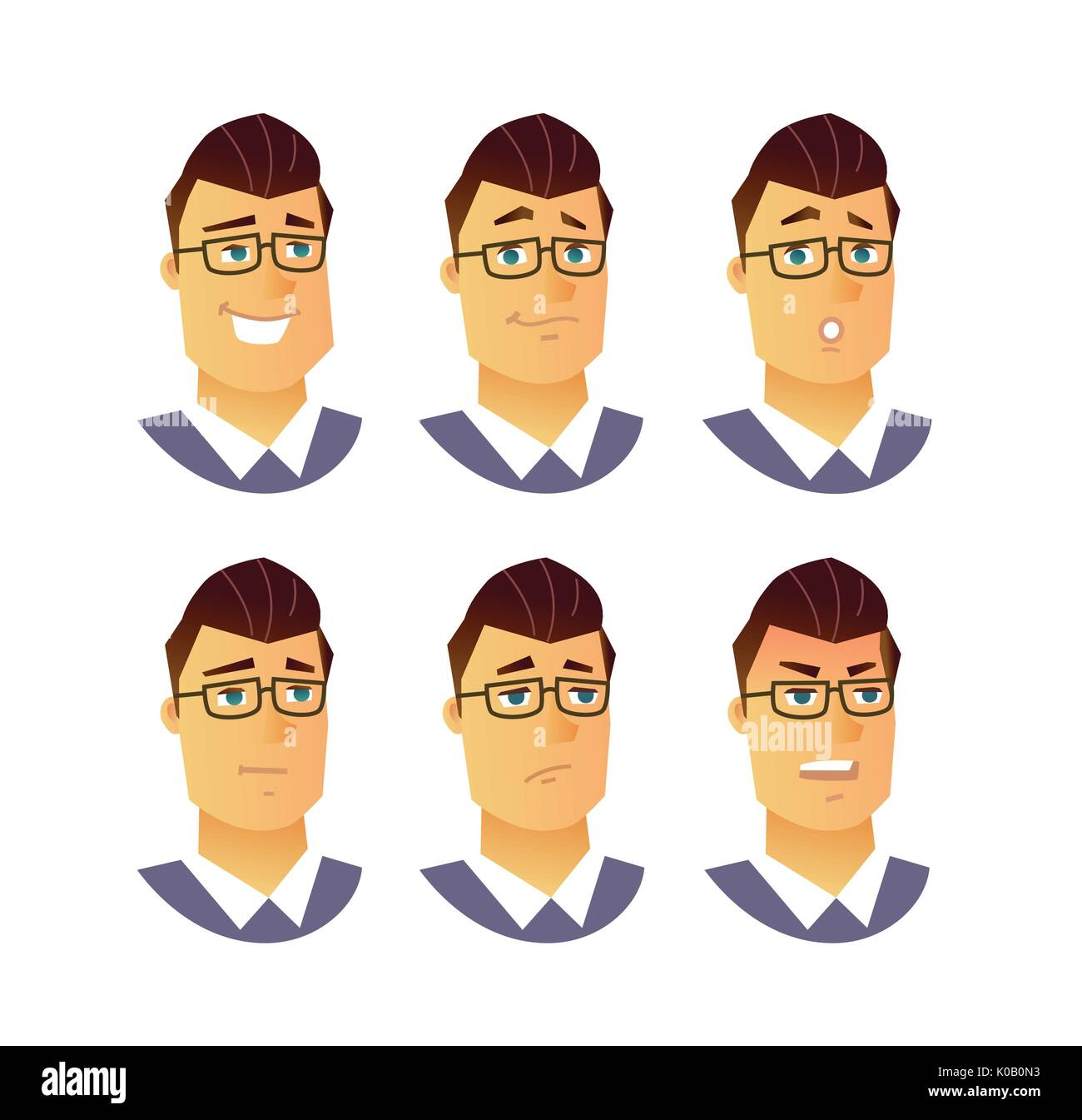 Male Facial Expressions Modern Vector Business Cartoon Characters