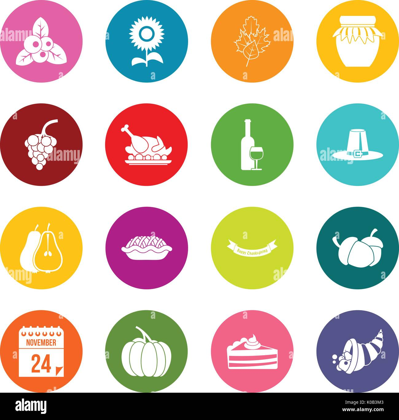 Thanksgiving icons many colors set Stock Vector