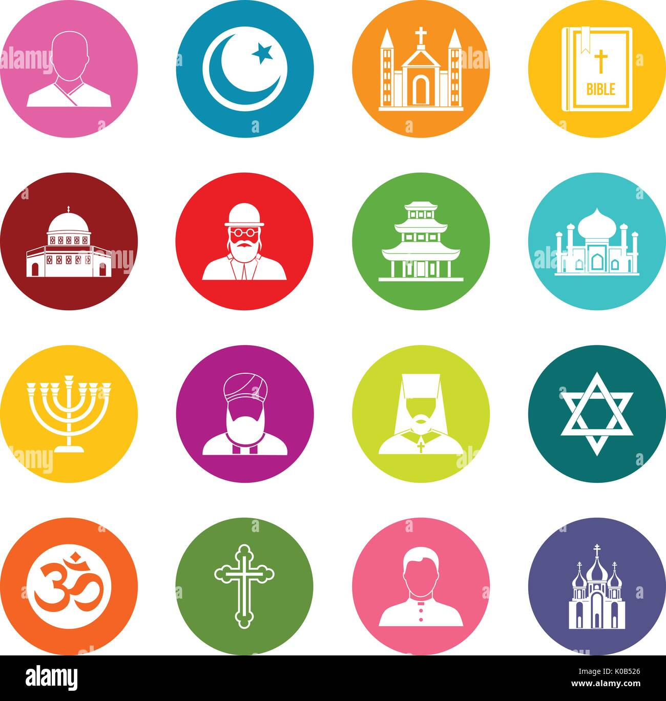 Hindu muslim christian stock photos hindu muslim christian stock religious symbol icons many colors set stock image buycottarizona Image collections