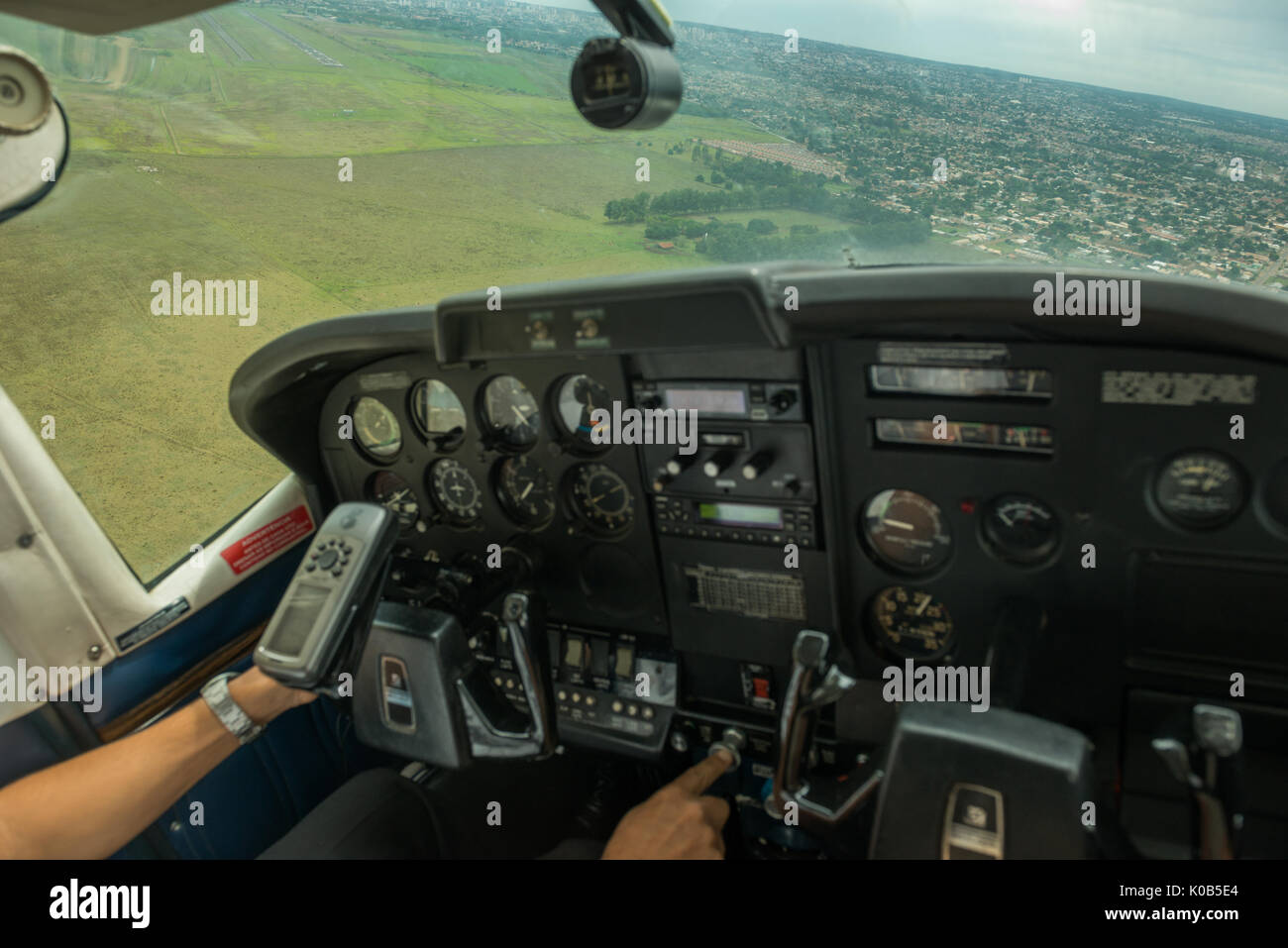 Cessna Airplane on final approach to Campo Grande Airport, Brazil - Stock Image