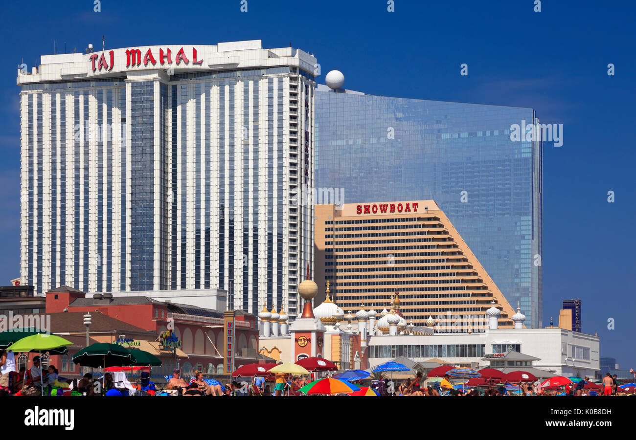 ATLANTIC CITY, NEW JERSEY - AUGUST 19, 2017: Modern Hotels in Atlantic City. Established in the 1800s as a health resort, today the city is dotted wit - Stock Image