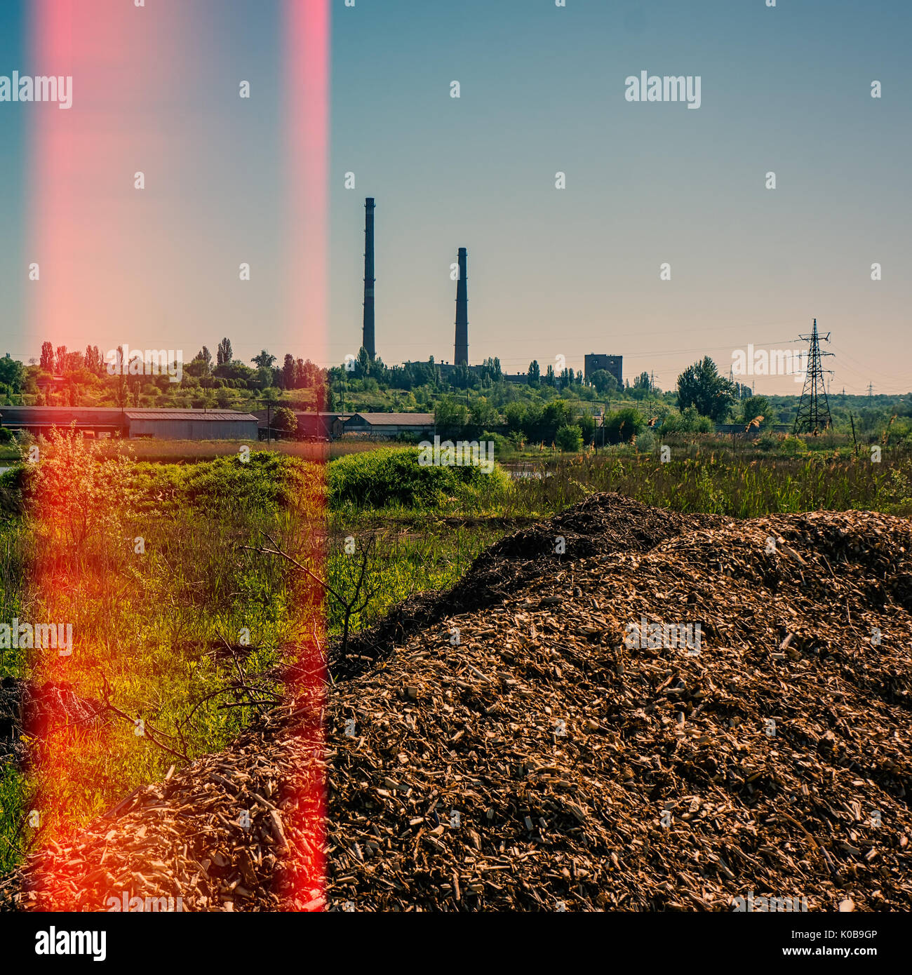 Plant for the enrichment of iron ore and industrial waste and debris, environmental pollution - Stock Image
