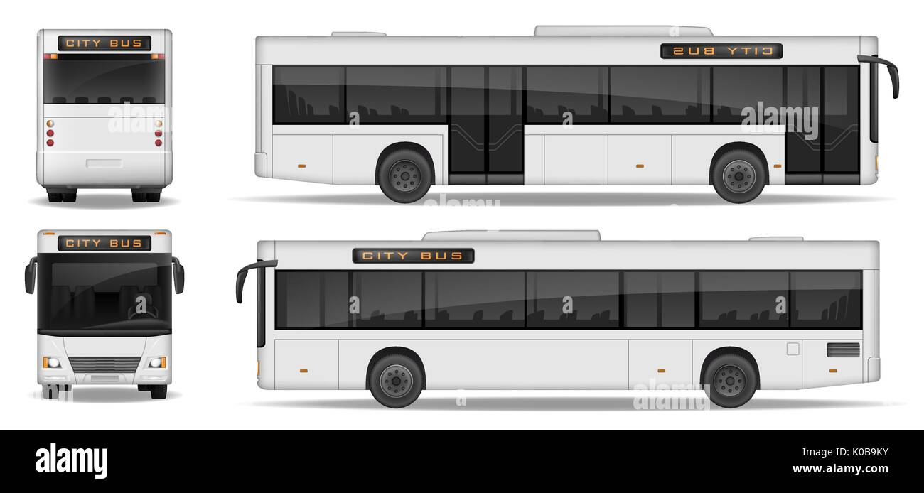 Realistic City Bus template isolated on white background. Passenger City Transport for advertising design. Passenger Bus mockup side, front and rear view. Vector illustration. - Stock Vector