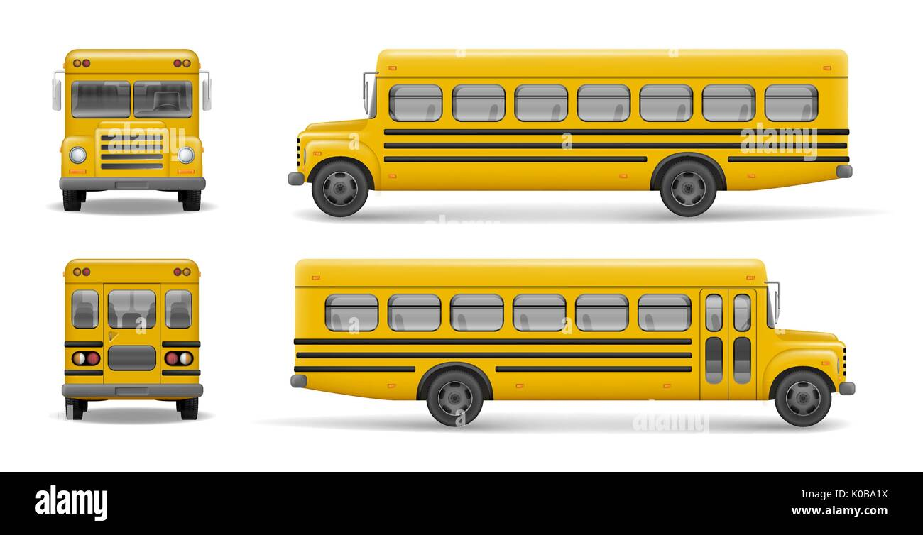 Yellow school bus front, back and side view. Transportation and vehicle transport, back to the school. Relistic bus mockup. Vector illustration - Stock Image