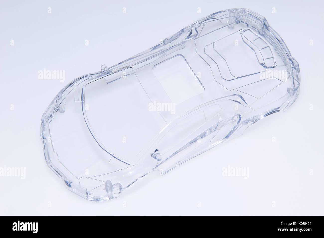 A transparent plastic toy car Stock Photo