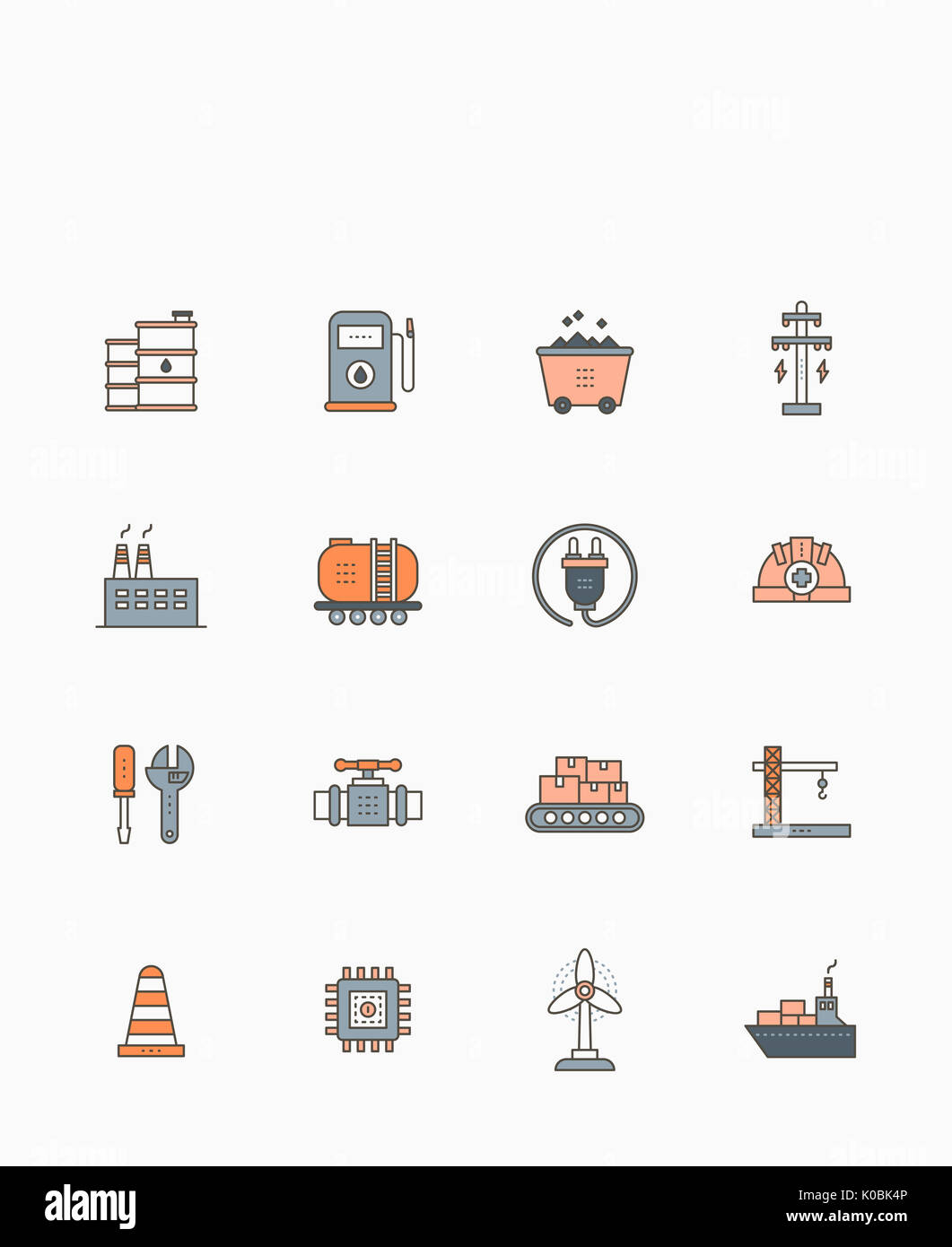 Set of icons related to industries - Stock Image