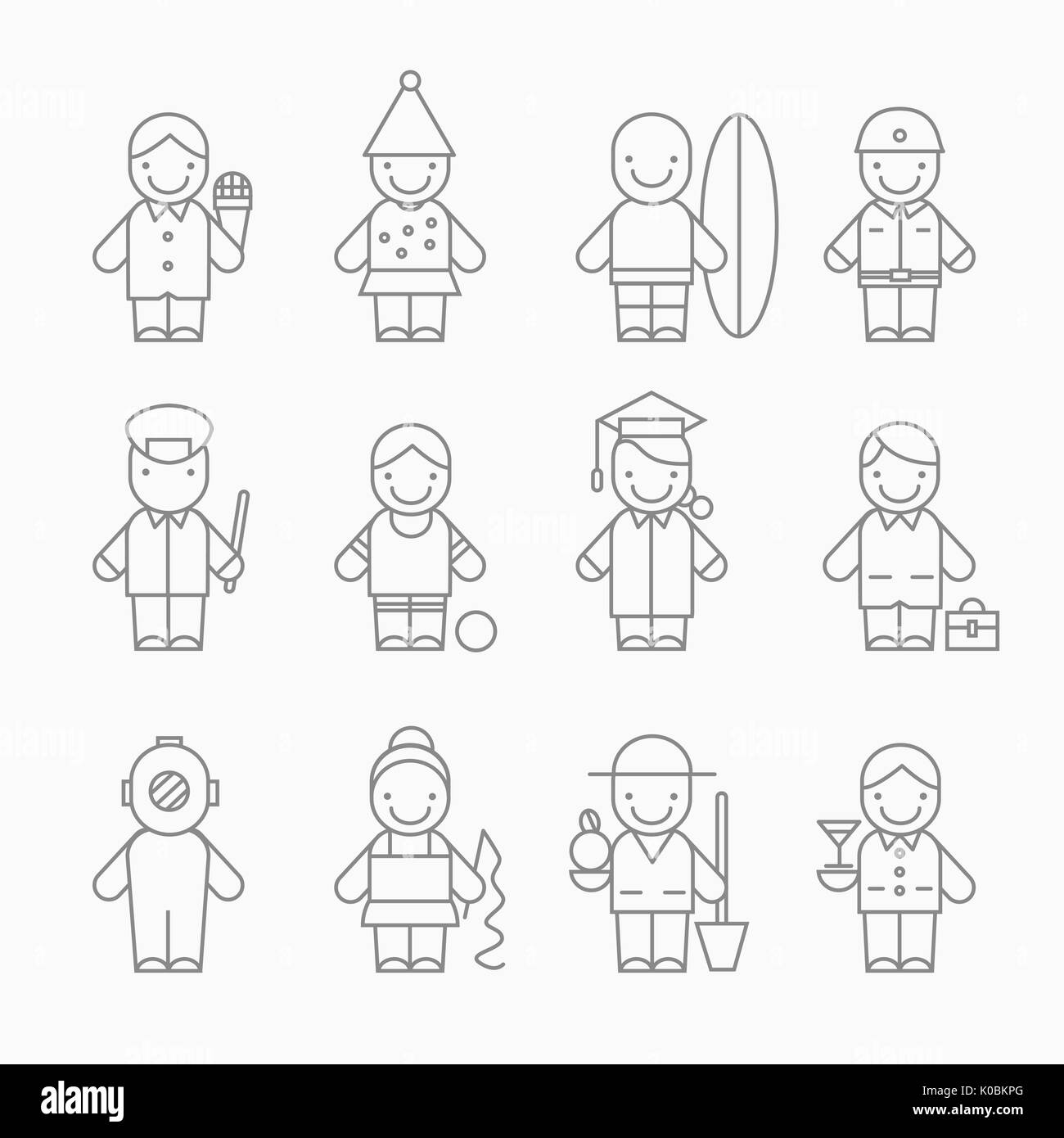 Icons of various career people - Stock Image