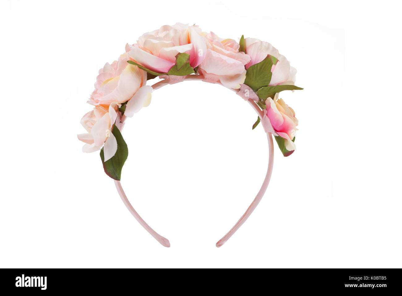 Flower wreath isolated on white - Stock Image