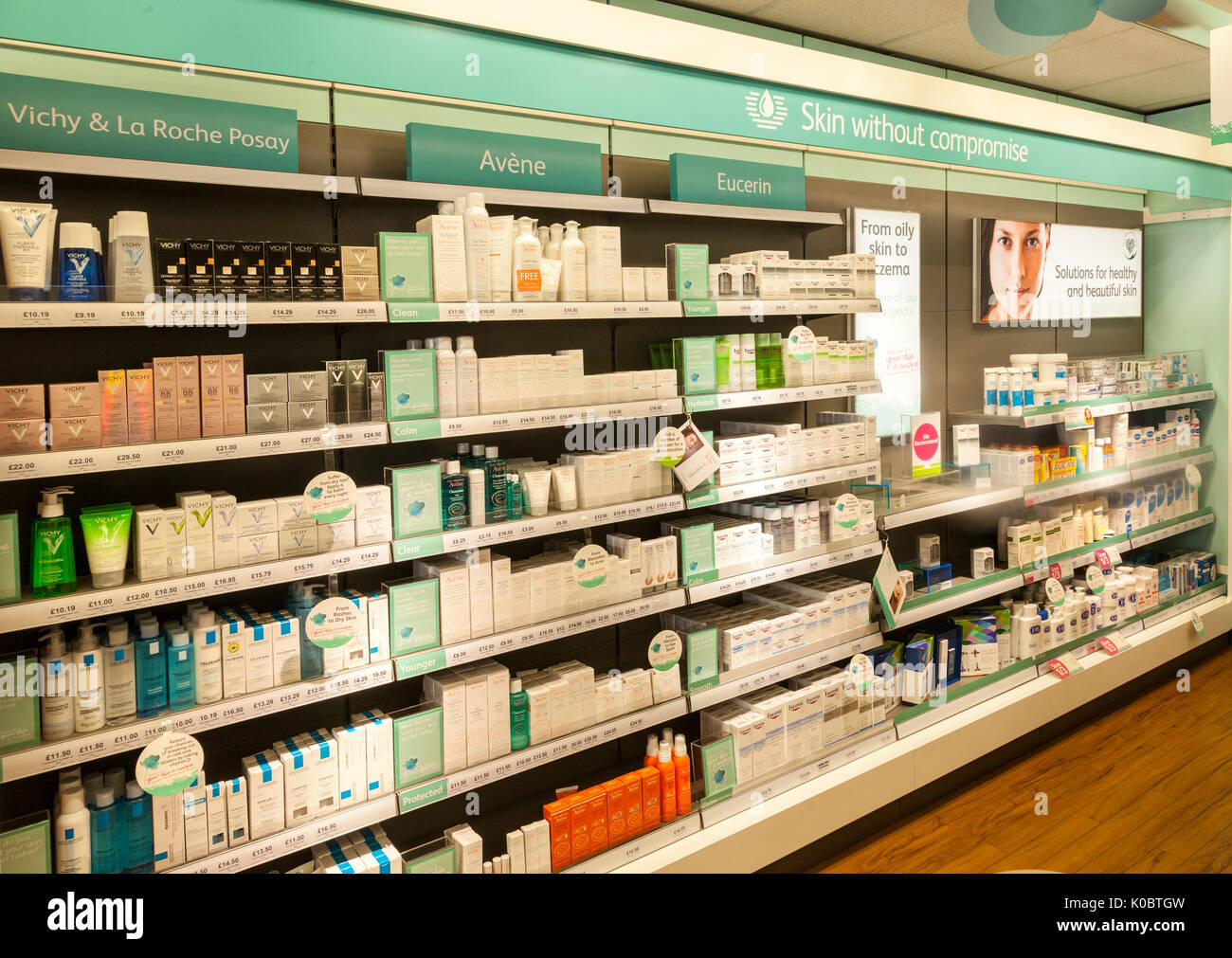 Skin care and beauty products on display in a chemist shop,pharmacy shelf,pharmacists,drug store - Stock Image